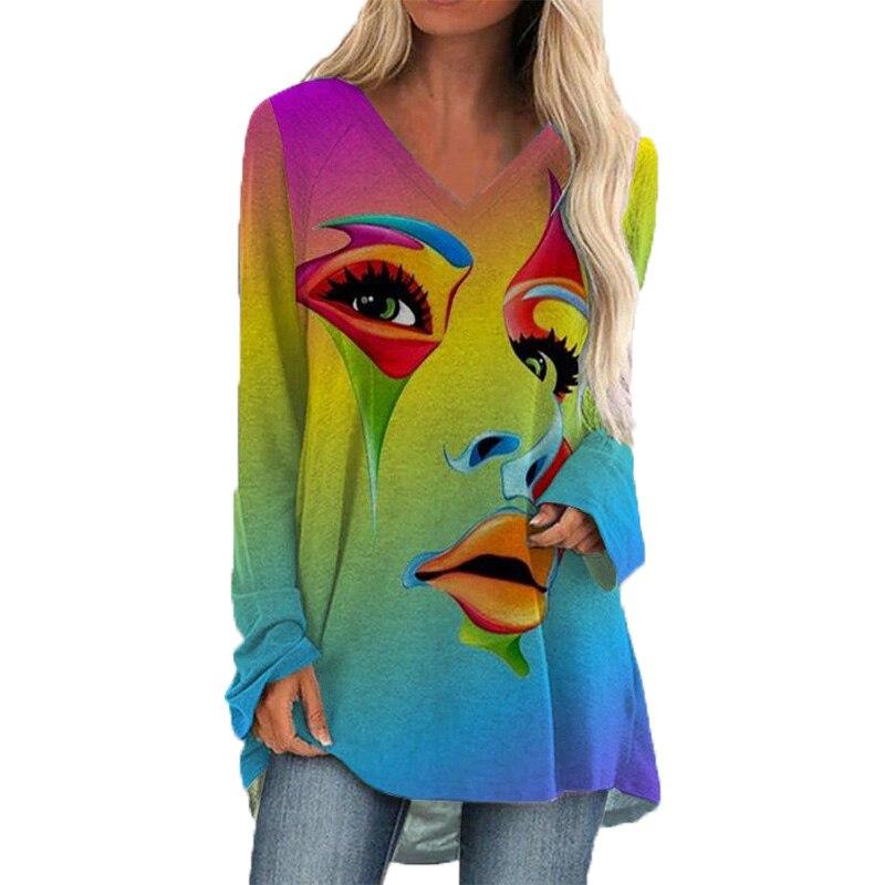Moda donna faccia Casual stampato scollo a V camicie a maniche lunghe T-shirt in cotone con stampa Graffiti cravatta da donna top e camicetta