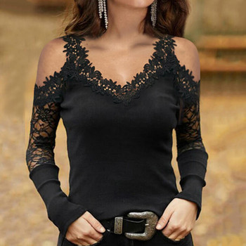 Fashion Off Shoulder Tunic Blouse Shirt Sexy Lace V-neck Tops Summer Casual Ladies Tops Female Women Long Sleeve Pullover