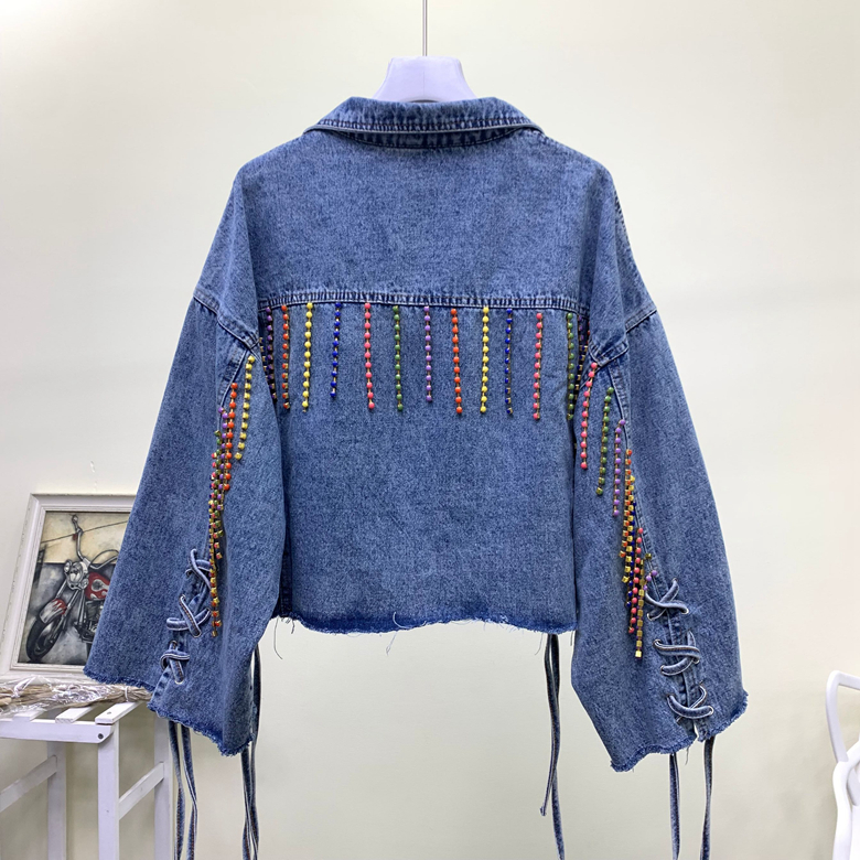 2019 automne nouvelle mode coréenne couleur à la main gland lâche denim veste femmes court étudiant jean veste 2053