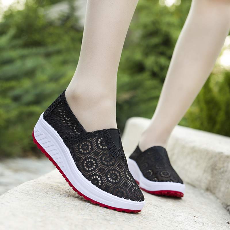 Womens Summer Fashion Mesh Openwork Lace Platform Casual Shoes Ladies Walking Sneakers Wide Width