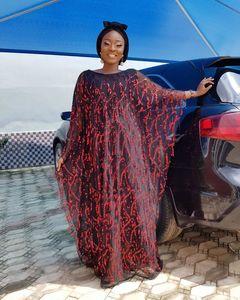 Image 3 - アフリカの女性のシフォンビッグスリーブスパンコールローブドレスマキシロングフローラルロングインナーアフリカ服