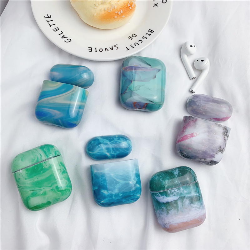 OTTWN Luxury marble Hard PC Wireless Earphone Charging Case for <font><b>Apple</b></font> <font><b>AirPods</b></font> 1 2 High quality Glossy Bluetooth Box Headset case image
