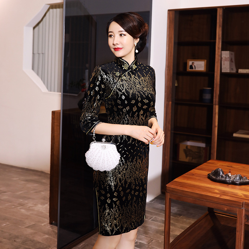 Velour Knee Length Chinese Style Dress Vintage Ladies Short Qipao Classic Stage Show Elegant Female Cheongsam Plus Size XXXXXL