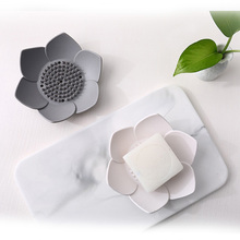Punch-Free Wall Mounted Drain Soap Holder Bathroom Lotus flower Style Box new