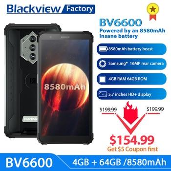 Blackview bv6600 8580mah bateria smartphone ip68 à prova dip68 água 4gb + 64gb octa núcleo celular 16mp câmera nfc 1