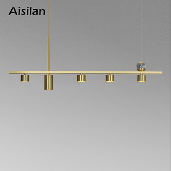 Aisilan led chandelier modern all copper dining room light luxury bar Nordic home creative spot pendant lamp - discount item  32% OFF Indoor Lighting