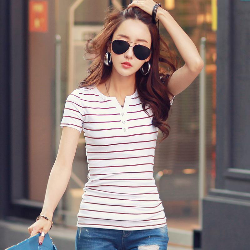 2021 Summer Top Shirts V neck T Shirt Women Short Sleeve Casual tshirts White Strip T Shirt Plus Size Cotton Tee Shirt  3188