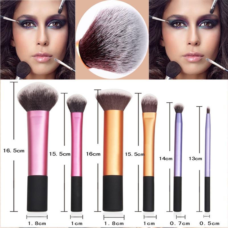 6 pçs pro escova de maquiagem cosméticos fundação sombra lábio em pó blush starter kit ferramenta dropshipping