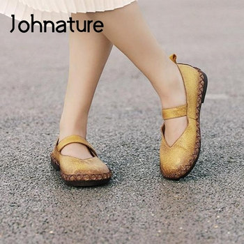 Johnature 2020 New Spring Flats Women Shoes Genuine Leather Hook & Loop Casual Round Toe Shallow Handmade Concise Ladies Shoes