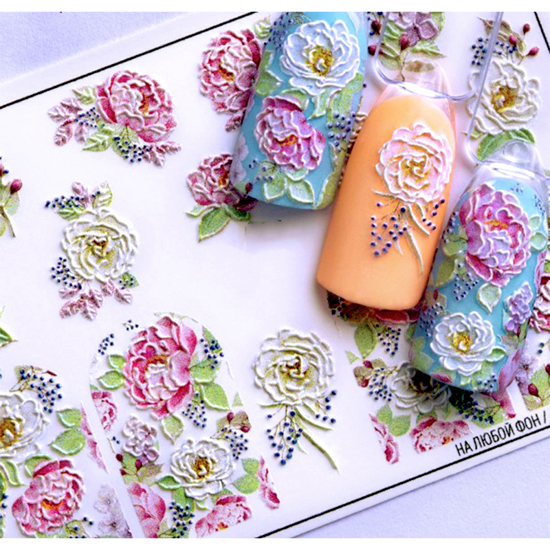 3D New Acrylic Engraved Nail Sticker Pink Flower Green Leaves Water Decals Empaistic Nail Water Slide Decals Z0303