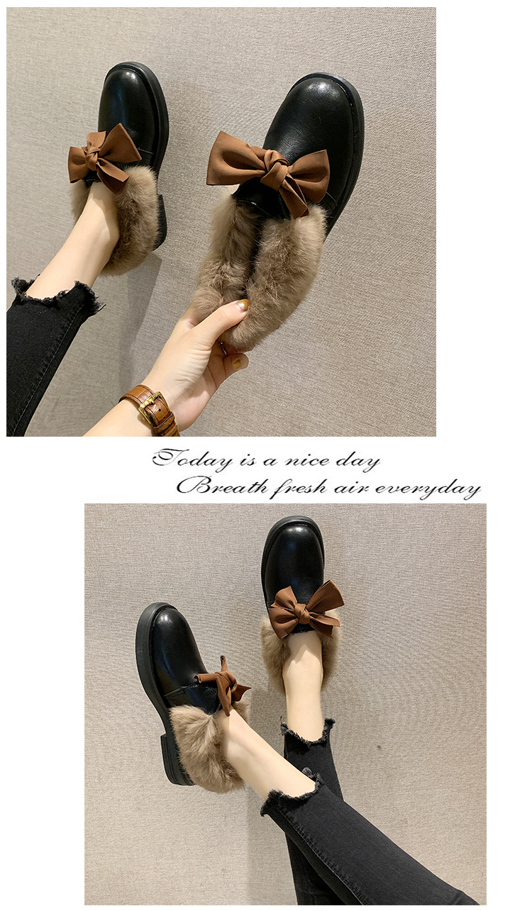 2019 winter long plush warm fur shoes bow tied decorate slip-on leather bullock shoes woman anti-skid chunky leisure espadrilles 50