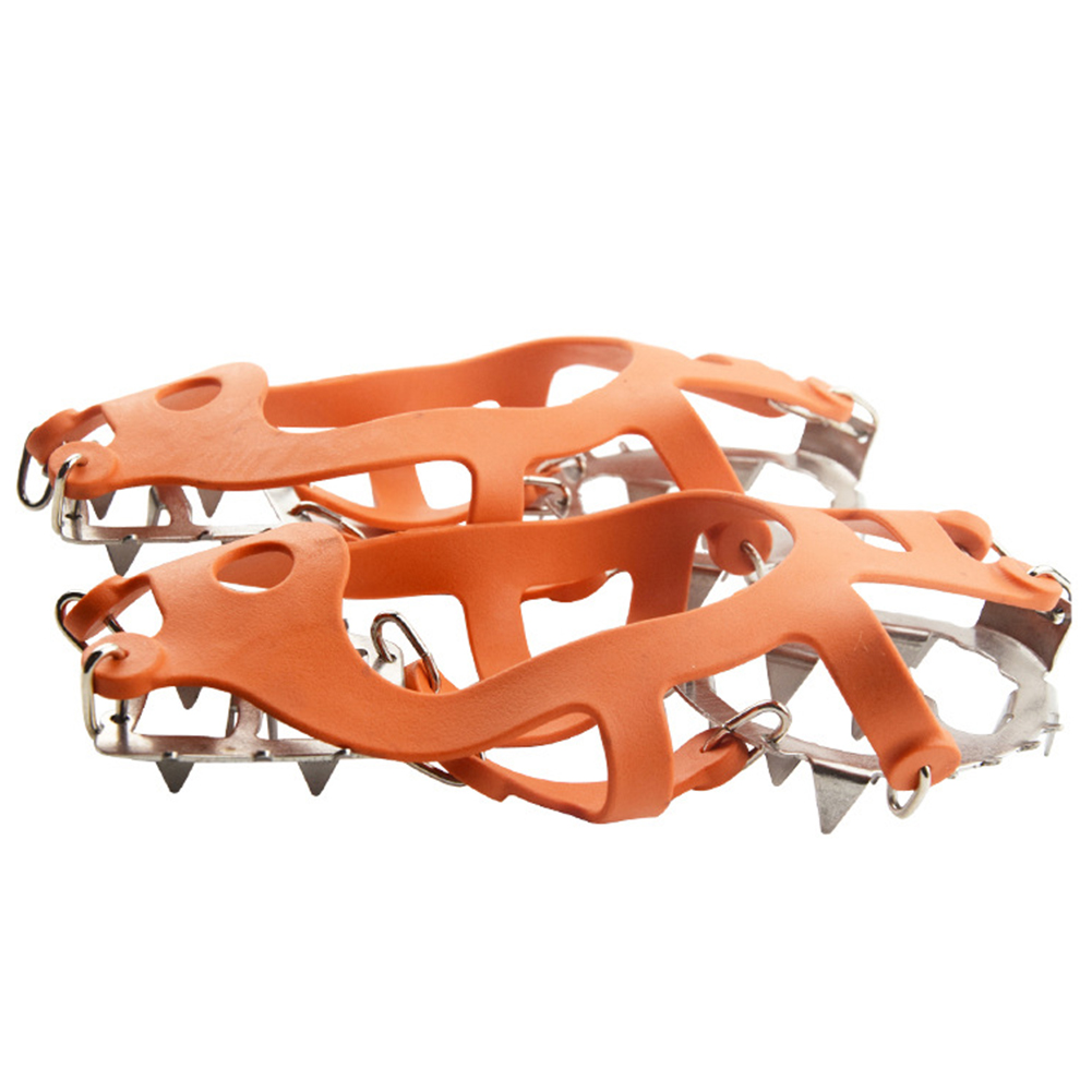 Outdoor 18 Teeth Anti Slip Shoe Spikes Climbing Sports Ice Gripper Crampon Grips Snow Cleats Chain Safety Steel
