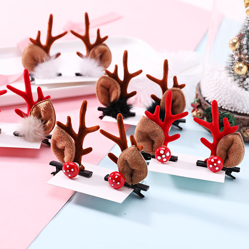 2020 New Christmas Antlers Hairball Hairpins Headband For Girls Gifts Cute Hair Ornament Hair Clip Kids Fashion Hair Accessories