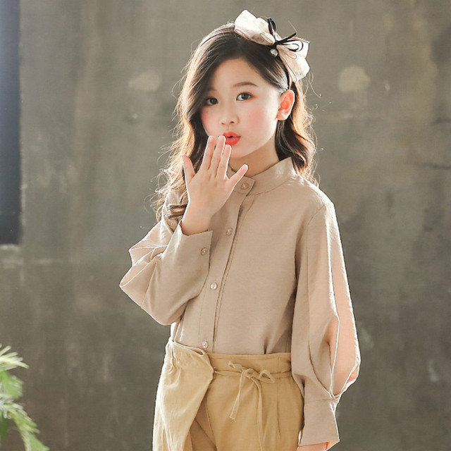 Spring Girls Clothing Set Girl Suit Teens Blouse +Pants Trousers Two-piece Suit 3-15Y Baby Big Girls Blouse Clothing Sets CA163 4