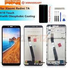 Digitalizador touchscreen para xiaomi redmi 7a, display original de reposição, peças de reparo, montagem + moldura para redmi 7a