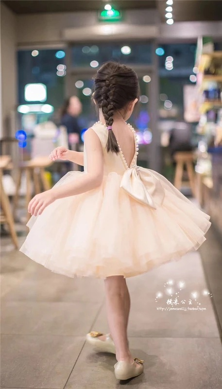 2019 GIRL'S Gown Backless Pearl Large Bow Dress Puffy Gauze Yarn Princess Dress Biao Yan Qun Autumn