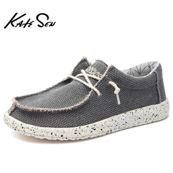 KATESEN 2019 summer canvas men's shoes breathable casual driving shoes slip easy to wear men's flat shoes soft big size loafers 1