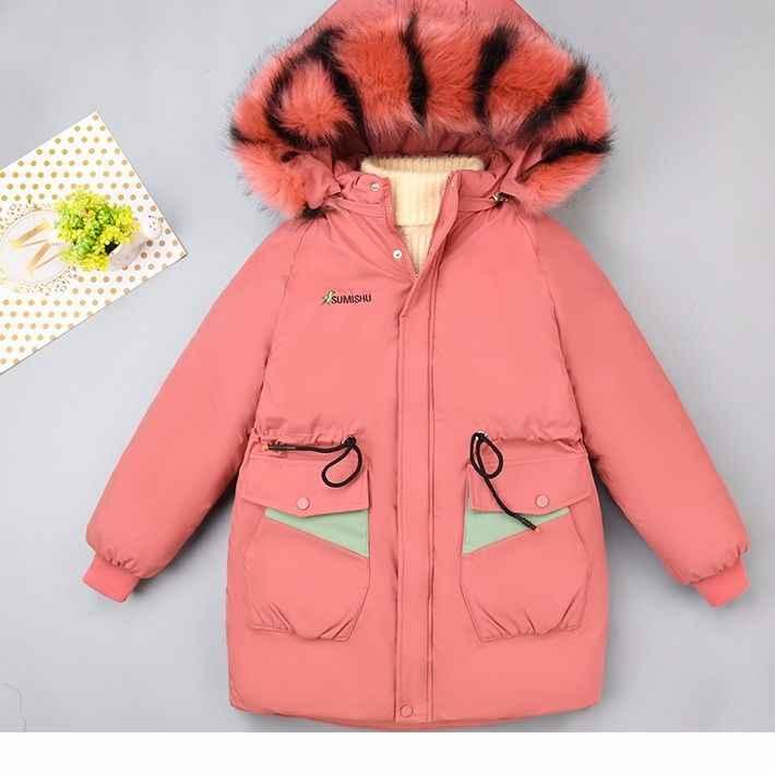Зимняя куртка для девочек теплая одежда для малышей плотное пальто 2019 г. Детские зимние куртки детские парки с большим меховым капюшоном верхняя одежда с блестками