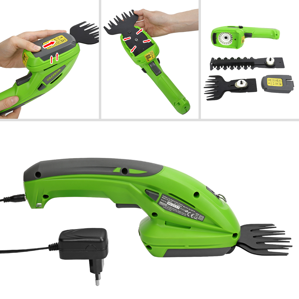 Top SaleWORKPRO Hedge Trimmer Shears Pruner Cordless Garden Power-Tools for Electric 2-In-1 Lithium-Ion