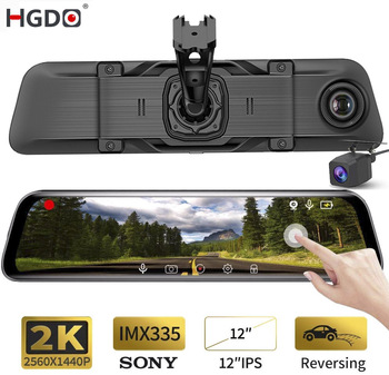 HGDO 12 2K Car Dvr Rearview mirror Camera 4G Android 8.1 dashcam 2G RAM 32G ROM GPS Navigation ADAS video recorder WiFi DVR image