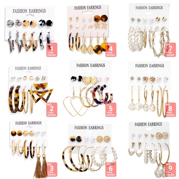 17KM Vintage Tassel Acrylic Earrings For Women Bohemian Earrings Set Big Dangle Drop Earring 2019 Brincos Female Fashion Jewelry 2