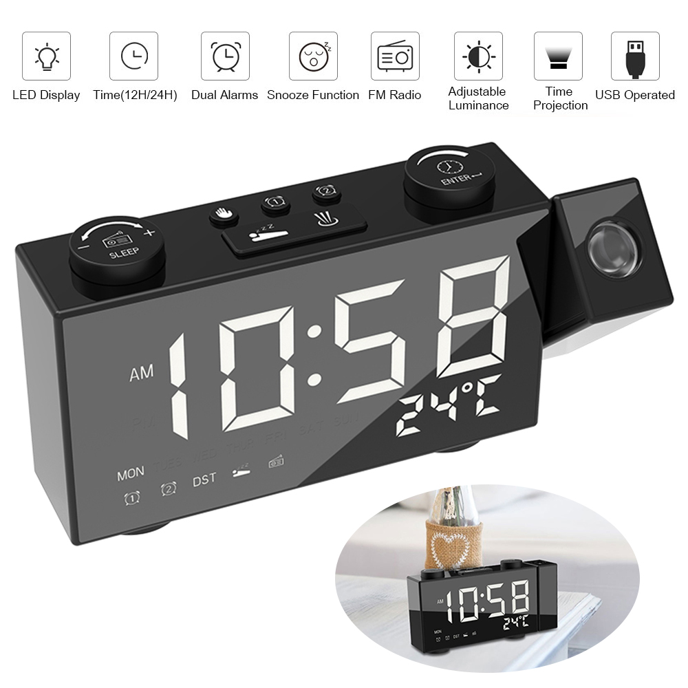Image 3 - Digital FM Projection Radio Alarm Clock 3 Time Displays Dual Alarm Clock with Snooze Thermometer Clock USB/Batterys Powers-in Alarm Clocks from Home & Garden