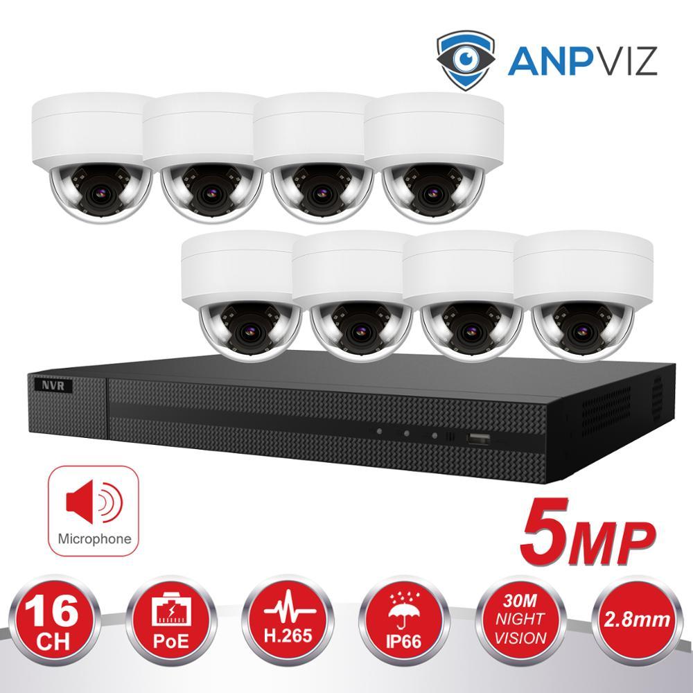 Ultra H.265 4K 16CH NVR KIT 8/10/12/16 Uds 5MP cámara domo Poe vari-focus lente Hikvision Sistema de Vigilancia NVR-216MH-C/16 P OEM
