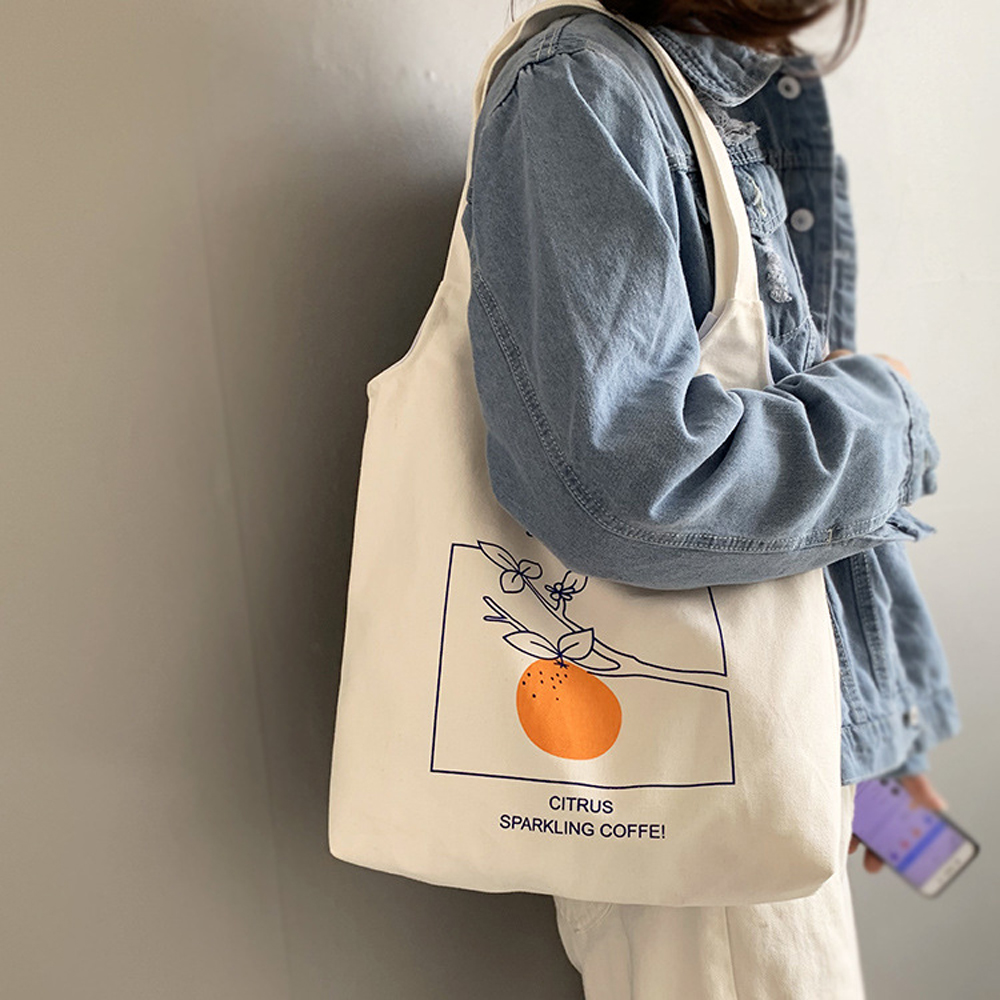 Ladies Handbags Cloth Canvas Tote Bag Orange Pattern Shopping Travel Women Eco Reusable Shoulder Shopper Bags Bolsas De Tela