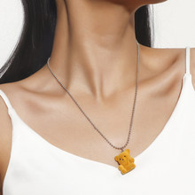 4 Color Fashion Chain Bear Pendant Necklace Women Birthday Gift Jewelry