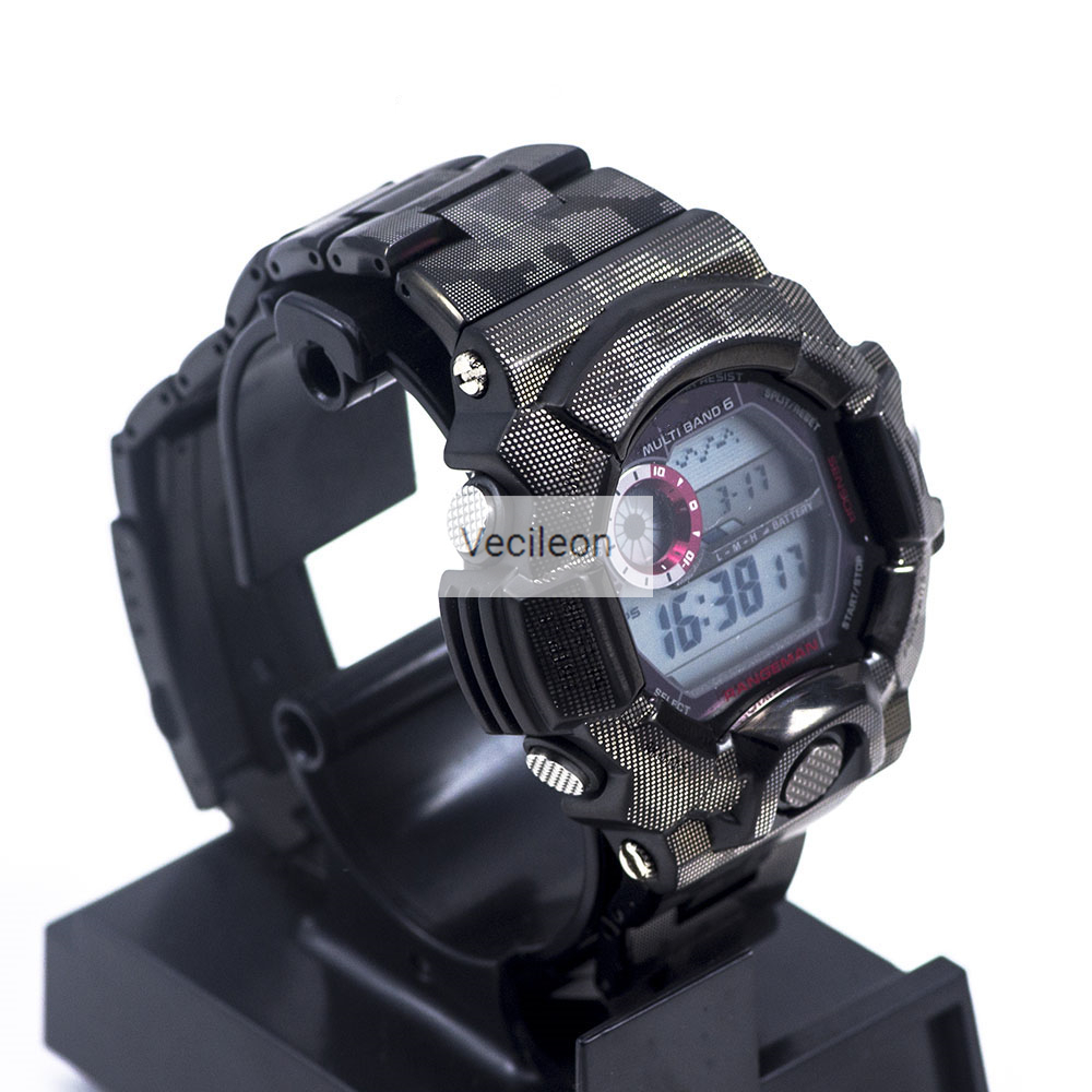 GW-9400 Watch band Black Camouflage Watchband Bezel/Case Metal 316L Stainless Steel Watch Set Watch Strap Cover with Tools image