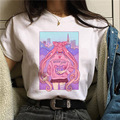 LINNA Sailor Moon Costume Girl Warrior T-shirt Women Long Sleeve CDR Cute Cartoon Cat Sailor Moon T-shirt Japanese Anime
