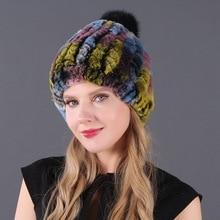 Real Rex Rabbit Fur Hat Women Winter Knitted Fur Beanies Cap With Fox Fur Pom Poms Brand New Thick Female Cap Elastic Soft Warm