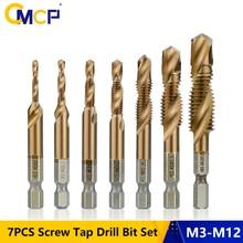 CMCP 1/4 Hex Shank HSS Metric Thread Tap 7PCS TiCN Coated Hand Screw Taps M3 M4 M5 M6 M8 M10 M12 Screw Tap Drill Bits