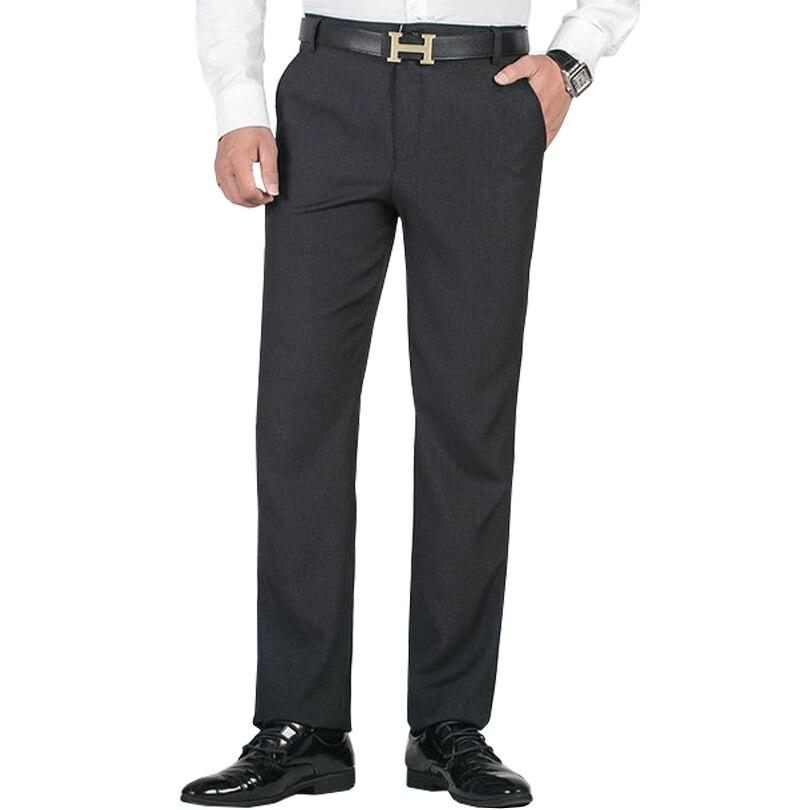 2020 New Men's Casual Pants Spring Summer Thin Section Black Gray Suit Pants Straight Elastic Waist Plus Size Trousers Men 29-40