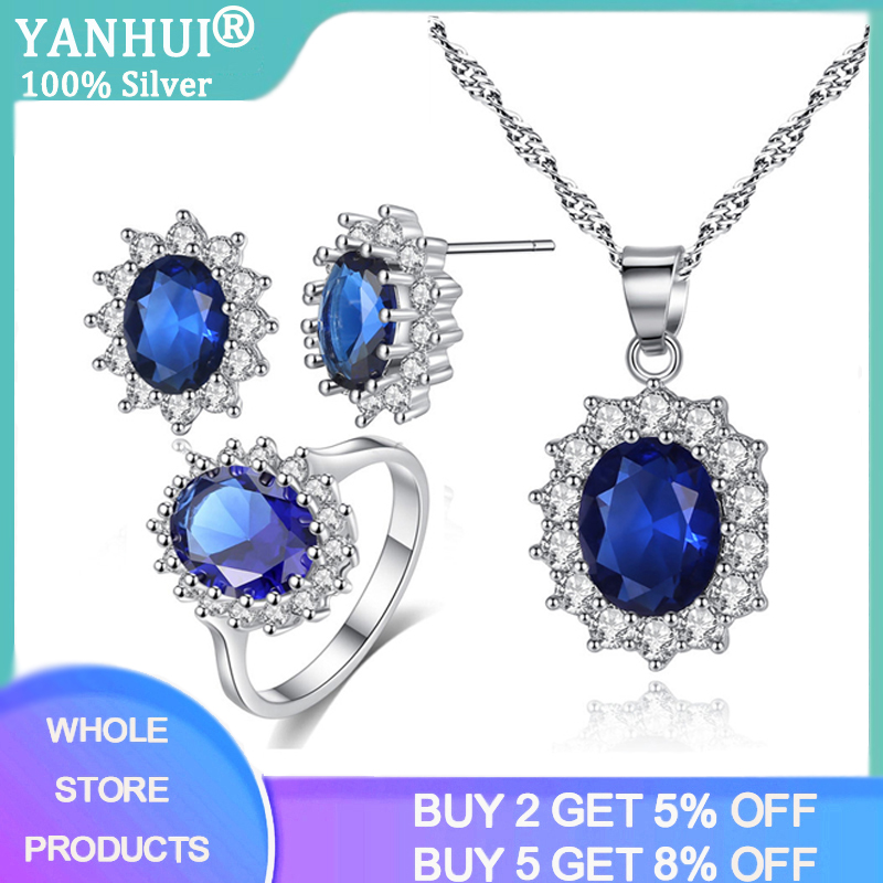 YANHUI Luxury 2.0CT Lab Sapphire Silver 925 Jewelry Sets for Women Blue Gemstones Ring Earrings Necklace Wedding Jewelry Set