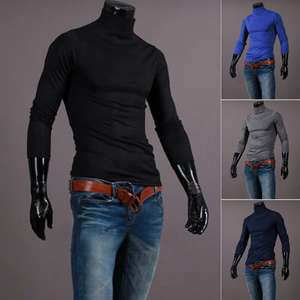 Men's Sweater Pullovers Slim-Fit Knitted Autumn Winter Casual New Brand Solid Turtleneck