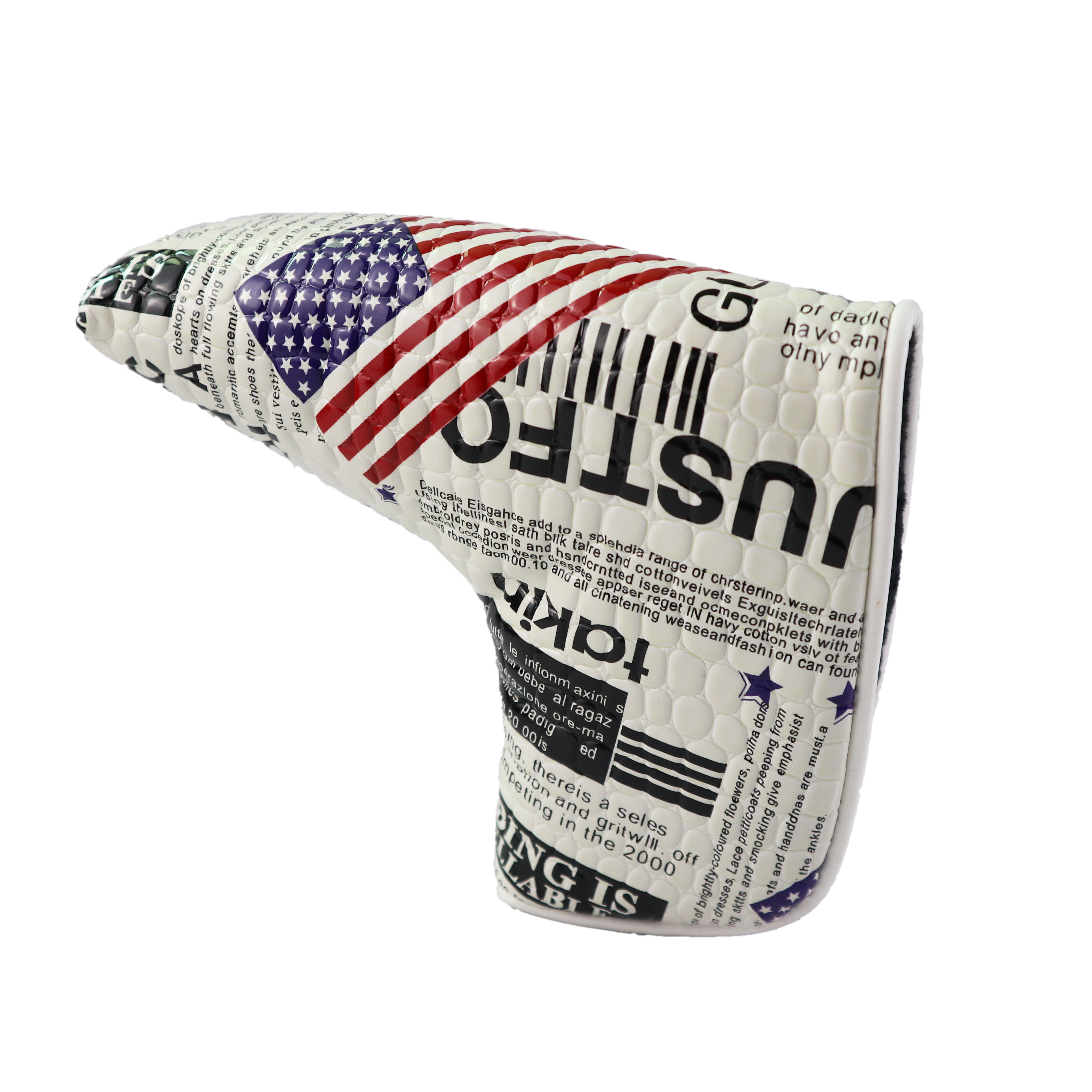 Golf Putter Cover Magnetic Closure American Flag PU Leather Waterproof Golf Head Cover For Blade Putter
