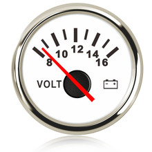 52 mm Marine Voltmeter Volt Meter Gauge 8-16 Volts 16-32 Car Voltage Gauges for Caravan Boat Red Backlight 12V 24V
