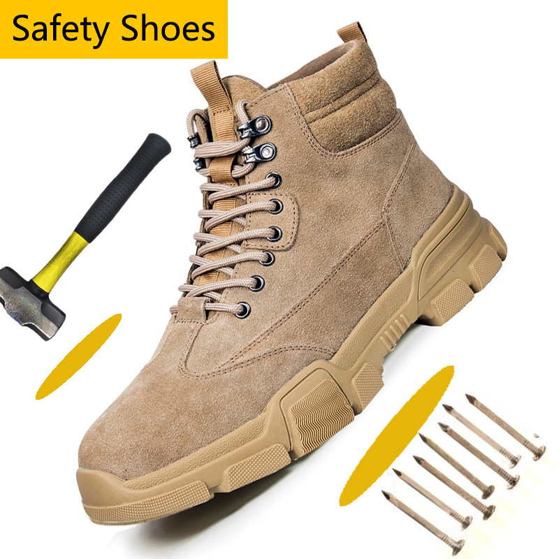 Suede Leather Steel Toe Shoes Athletic Work Shoes For Men Non-Slip Industrial & Construction Work Safety Boots Winter Boots Men
