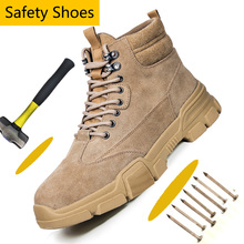 Suede Leather Steel Toe Shoes Athletic Work Shoes for Men Non-Slip Industrial & Construction Work Sa