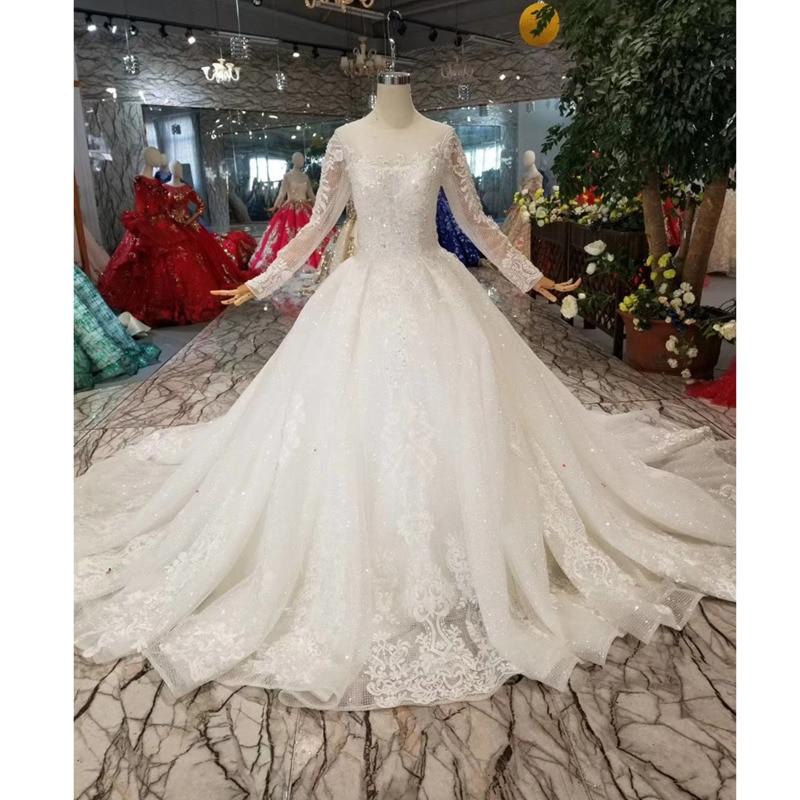 BGW HT42911 Simple Wedding Dress For Girl O neck Long Sleeves Princess Wedding Gowns With Train CasamentoWedding Dresses   -