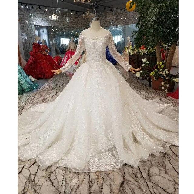 Простое свадебное платье BGW HT42911 для девочек, свадебные платья принцессы с круглым вырезом и длинными рукавами со шлейфом