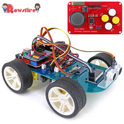 New 4WD Wireless Joystick DIY Remote Control Smart Car Programmable High Tech Toy Kit With Tutorial For Arduino For R3 Nano Hot