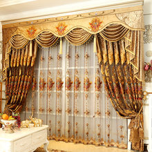 Luxury Upscale European Embroidery Curtains for Living Dining Room Bedroom Shade Valance Custom Wave Golden Customization