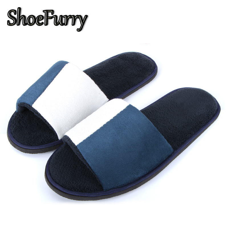 ShoeFurry Winter Men Casual Cotton Shoes Home Indoor Slippers Sandals Soft Plush Warm Bedroom Slippers Male Hotel Spa Slippers