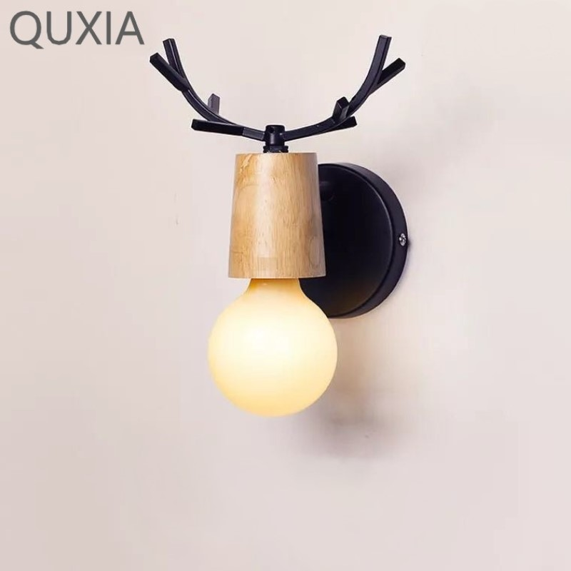 QUXIA LED Wall Lamp Wooden Iron Nordic Vintage Modern Loft Bathroom Bedroom Living Room Bedside Stair Home Children's Lights