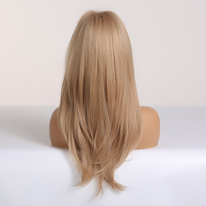 Image 2 - ALAN EATON Blonde Synthetic Wig with Bangs Long Wavy Wigs for Woman Cosplay Party Wig Daily False Hair Heat Resistant Fiber