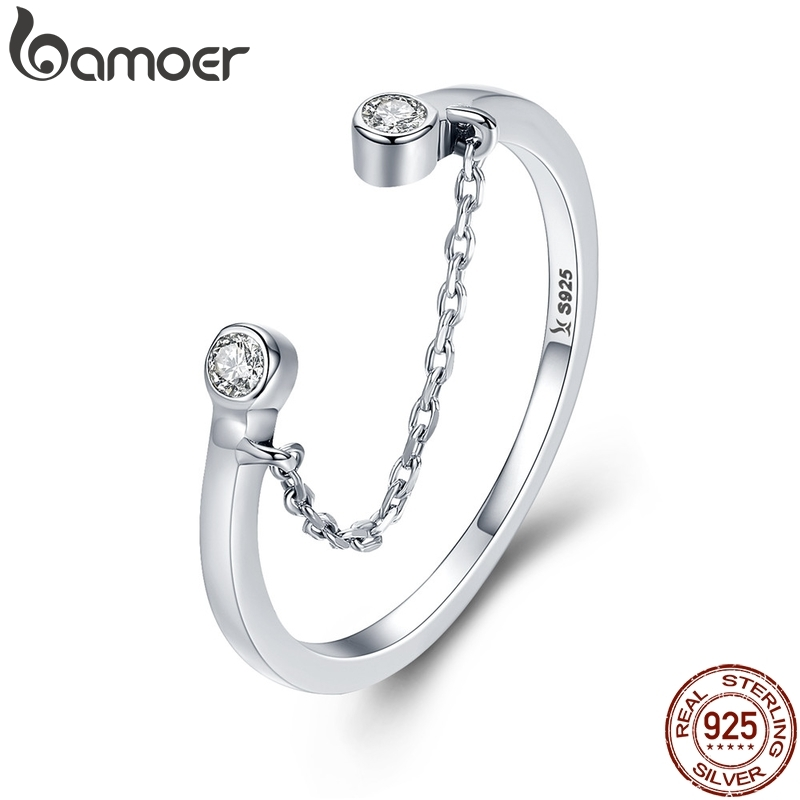 BAMOER 100% Real 925 Sterling Silver Tassel Adjustable Clear CZ Finger Ring Women Ring Sterling Silver Ring Jewelry SCR216