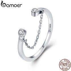 BAMOER 100% gerçek 925 ayar gümüş püskül ayarlanabilir temizle CZ parmak yüzük kadın yüzük gümüş yüzük takı SCR216
