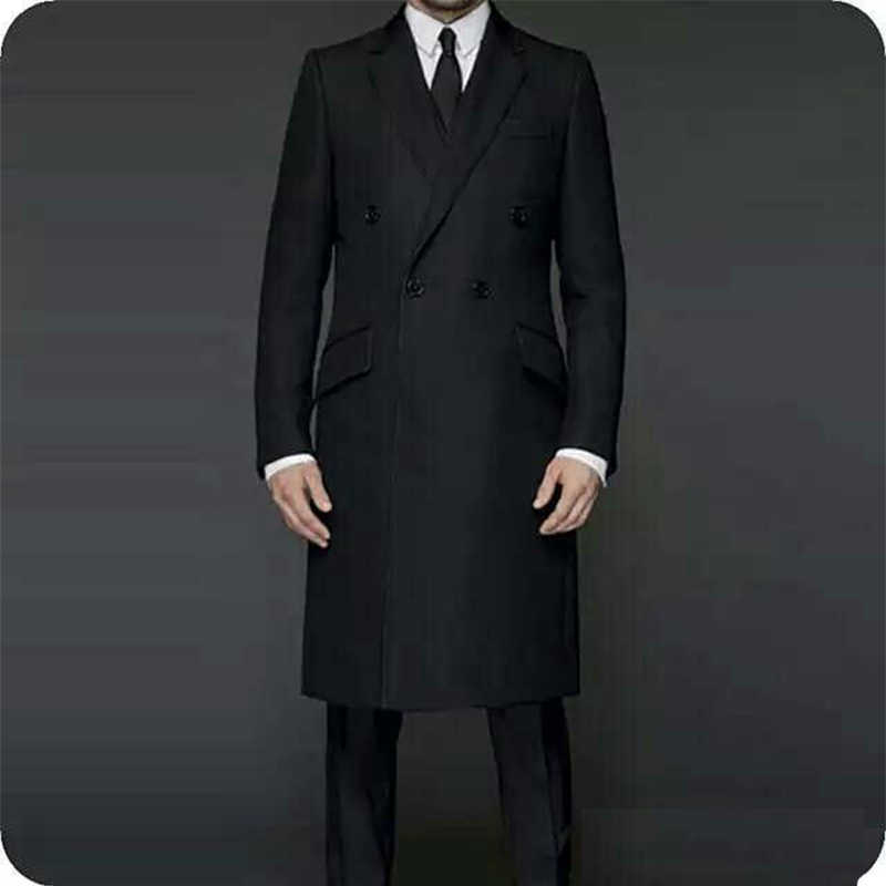 2020 Chaqueta larga negra trajes de hombre para boda FRAC de novio esmoquin de solapas traje de hombre Blazer traje trajes de tres piezas